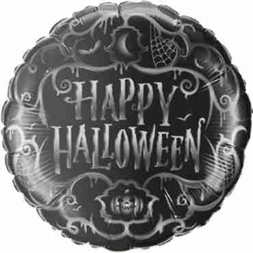 halloween goth scroll foil round 18in/45cm