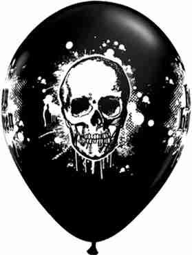 Halloween Haunted Skull Fashion Onyx Black Latex Round 11in/27.5cm