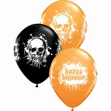 Halloween Haunted Skull Standard Orange and Fashion Onyx Black Assortment Latex Round 11in/27.5cm