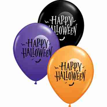 Halloween Moon and Bats Standard Orange, Fashon Purple Violet and Fashion Onyx Black Assortment Latex Round 11in/27.5cm