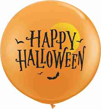 Halloween Moon and Bats Standard Orange Latex Round 36in/90cm
