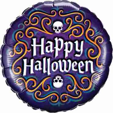 Halloween Skeleton Filigree Foil Round 18in/45cm