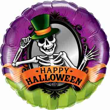 Halloween Skeleton Mirror Foil Round 18in/45cm