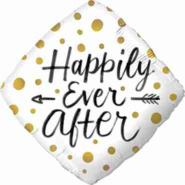 Happily Ever After Gold Dots Foil Diamond 18in/45cm