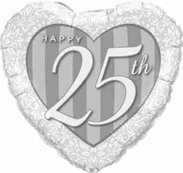 Happy 25th Damask Heart Foil Heart 18in/45cm
