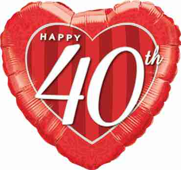 Happy 40th Damask Heart Foil Heart 18in/45cm