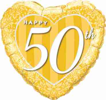 Happy 50th Damask Heart Foil Heart 18in/45cm