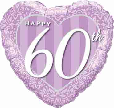 Happy 60th Damask Heart Foil Heart 18in/45cm