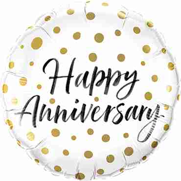 Happy Anniversary Gold Dots Foil Round 18in/45cm