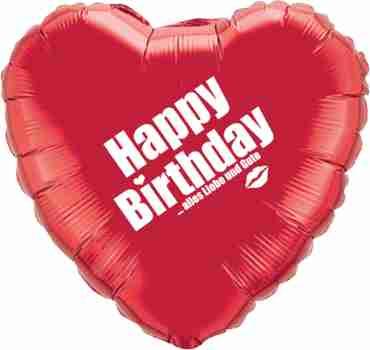 happy birthday alles liebe und gute ruby red w/white ink foil heart 18in/45cm