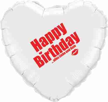 happy birthday alles liebe und gute white w/red ink foil heart 18in/45cm
