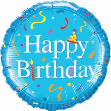 Happy Birthday Blue Foil Round 18in/45cm