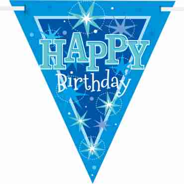 happy birthday blue sparkle bunting 3.6m
