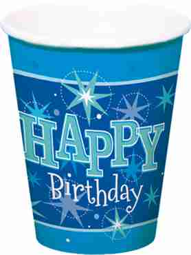 happy birthday blue sparkle cups
