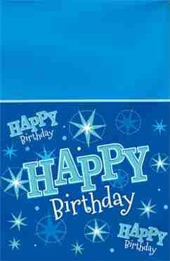 happy birthday blue sparkle table cover