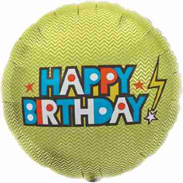 Happy Birthday Bolt Foil Round 18in/45cm