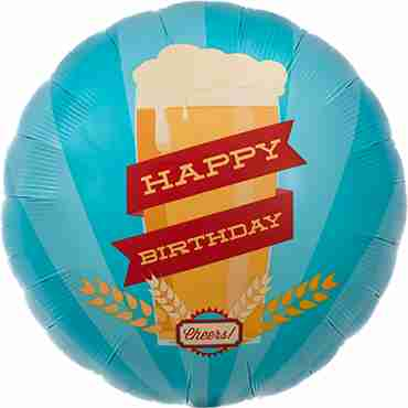 Happy Birthday Brew Foil Round 18in/45cm