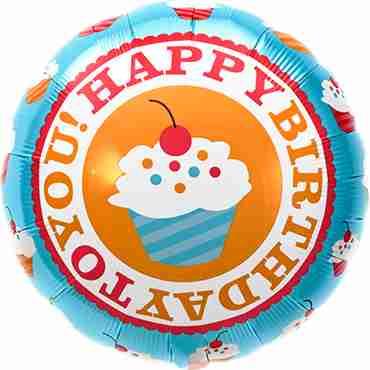 Happy Birthday Cherry Cupcake Foil Round 18in/45cm