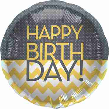 Happy Birthday Chevron Dots Foil Round 18in/45cm