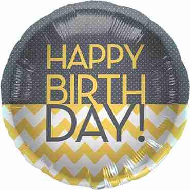 Happy Birthday Chevron Dots Foil Round 18in/45cm