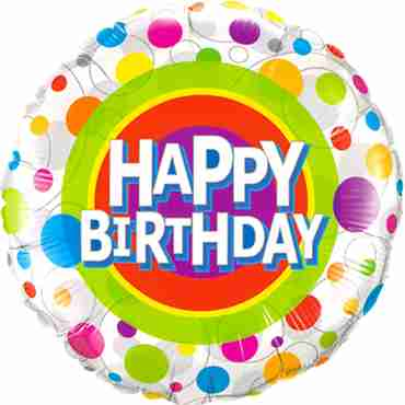 Happy Birthday Colourful Dots Foil Round 18in/45cm