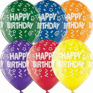 Happy Birthday Crystal Green, Crystal Yellow, Crystal Orange, Crystal Royal Red, Crystal Quartz Purple and Crystal Blue Assortment (Transparent) Latex Round 12in/30cm