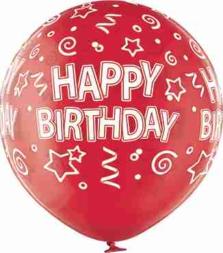 Happy Birthday Crystal Red (Transparent) Latex Round 24in/60cm