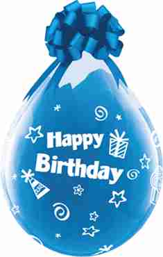 Happy Birthday Cupcakes and Presents Crystal Diamond Clear (Transparent) Latex Round 18in/45cm