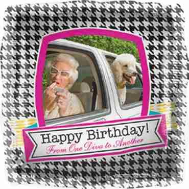 Happy Birthday Diva Foil Square 18in/45cm