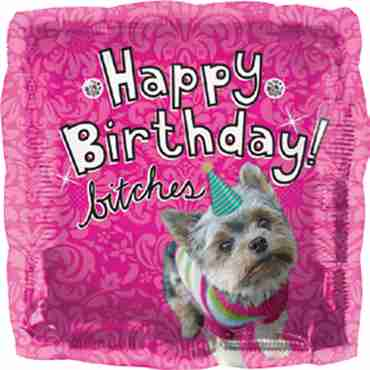 Happy Birthday Dog Foil Square 18in/45cm