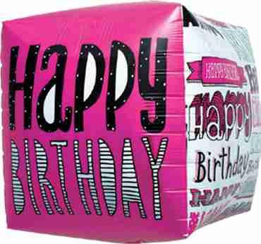 Happy Birthday Doodles Cube 17in/43cm
