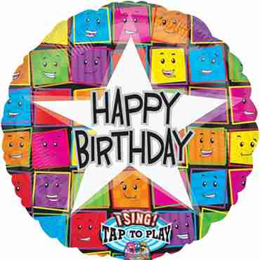 Happy Birthday Faces Sing A Tune Foil Round 28in/71cm