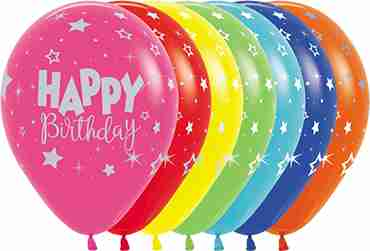 Happy Birthday Fantasy Assortment with Metallic Ink Latex Round 11in/27.5cm