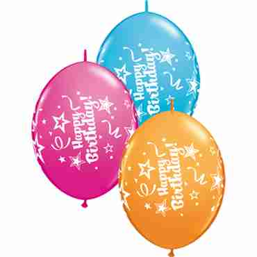 Happy Birthday Fashion Wild Berry, Fashion Robins Egg Blue and Standard Orange Assortment QuickLink 12in/30cm