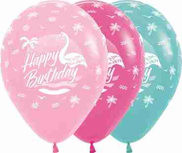 Happy Birthday Flamingo Bubblegum Pink, Fuchsia, Aquamarine Latex Round 11in/27.5cm
