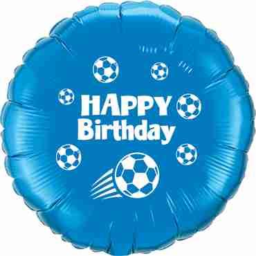 Happy Birthday Football Dark Blue w/White Ink Foil Round 18in/45cm