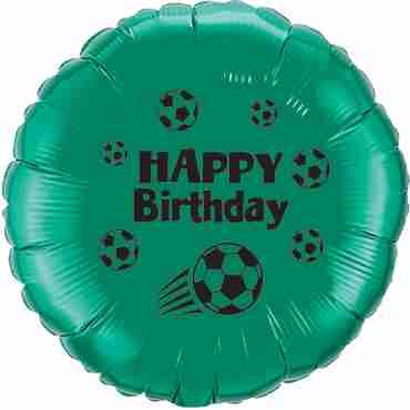 Happy Birthday Football Emerald Green w/Black Ink Foil Round 18in/45cm