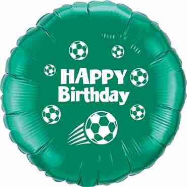 Happy Birthday Football Emerald Green w/White Ink Foil Round 18in/45cm