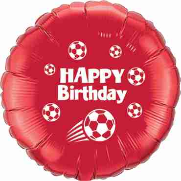 happy birthday football ruby red w/white ink foil round 18in/45cm