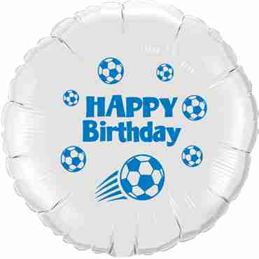 Happy Birthday Football White w/Blue Ink Foil Round 18in/45cm