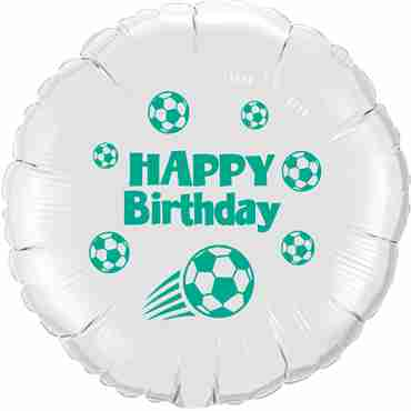 Happy Birthday Football White w/Green Ink Foil Round 18in/45cm