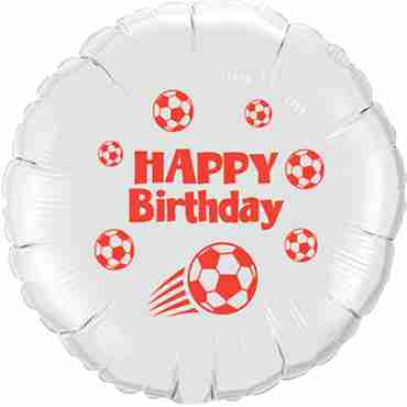 Happy Birthday Football White w/Red Ink Foil Round 18in/45cm