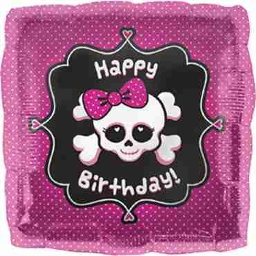 Happy Birthday Girly Skull Foil Square 18in/45cm
