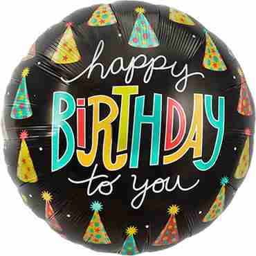 Happy Birthday Hats Foil Round 18in/45cm