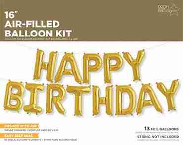 Happy Birthday Kit Gold Foil Letters 16in/40cm
