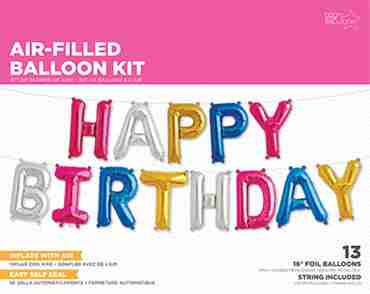 Happy Birthday Kit Multi-Colour Foil Letters 16in/40cm