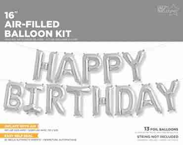 Happy Birthday Kit Silver Foil Letters 16in/40cm