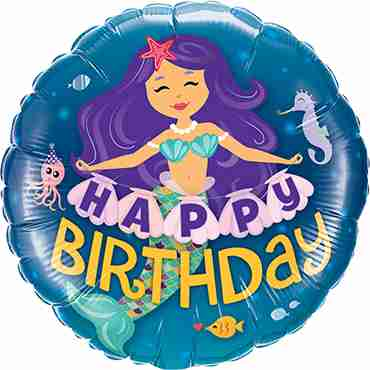 Happy Birthday Mermaid Foil Round 18in/45cm
