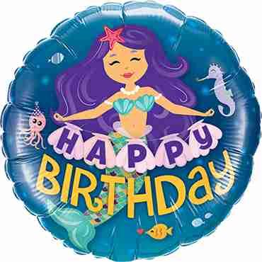 Happy Birthday Mermaid Foil Round 18in/45cm