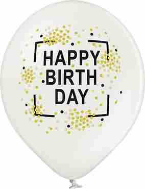 Happy Birthday Metallic Pearl Latex Round 12in/30cm